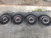 """13"""" Full Set of Steel Wheels Great Tyres"""