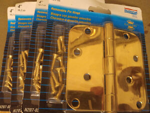 """4 NEW sealed 4"""" SOLID BRASS Removable Pin Door Hinges"""