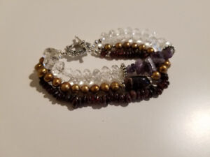 Hand made unique bracelets with natural gemstones and pearls.