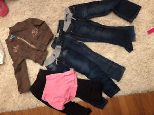 5t girls lot. 4 pairs of jeans. One skirt one fall jacket