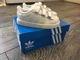 Adidas Superstar White Mono Velcro Trainers. Infant size 5