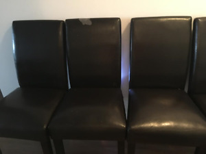 Dining set with 6 dark brown faux leather chairs
