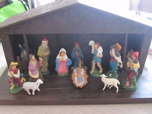 Nativity set with wooden stable