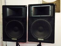 "PA Disco Speaker Yamaha 15"" drivers with power Amplifier amp stands black widows"