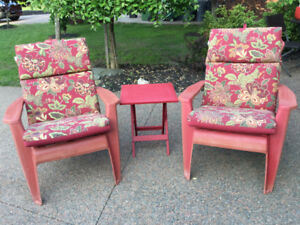 3 piece red patio Adirondack chair set with cushions