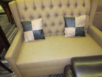 BEIGE COLOR FABRIC LOVE SEAT ON SALE AT EXMOUTH FURNITURE..