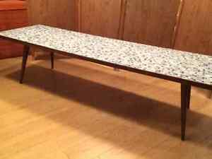 Teak coffee table with blue and white ceramic top