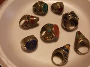 large tribal ethnic rings mens and ladies jewelry Persian silver
