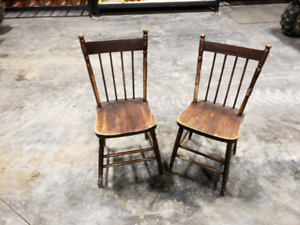 2 solid antique wood chairs