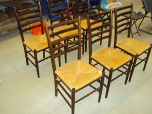 6 Dixie Seating Shaker Style Ladder Back Dining Chairs