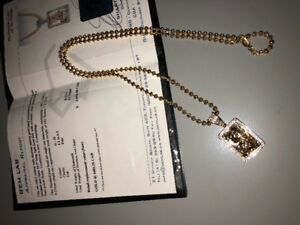 10 KT Men's Dog Tag Chain With .40ct Diamond Pendant. Quality !!