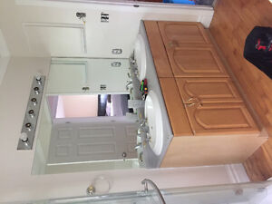 Counter top, sinks and parts, and two wood base cabinets