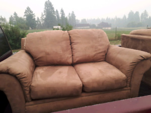 Two Micro-suede Loveseats