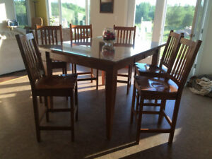 Solid Oak Pub Style Table and Chairs