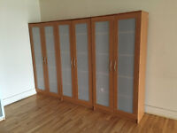 3 bookcases with doors