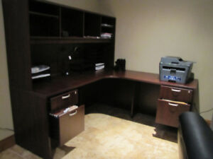Corner Desk with Hutch and 2 Drawer File Cabinet.
