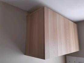 Double wall cabinet, white oak effect