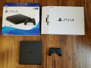 PS4 slim with box, controller, all hookups
