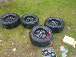 """Gm 6 bolt 18"""" Method mayhem rims and amp tires"""