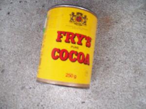 1-BOITE RONDE EN METAL,COUVERCLE FRY S CACAO PUR 250  GR,VINTAGE