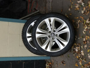 Hyundai Genesis Coupe factory rims with snow tires