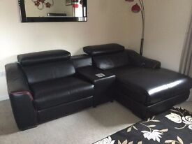 *PERFECT CONDITION* Black & Red Leather corner sofa reclining ends SOUND BLOCK WEDGE bnwt