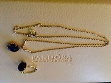 PANDORA 14ctYGold w Black Spinel Pendant (RARE) and Ring set Clayton Monash Area Preview