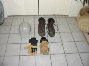 Work Safety Boots, Hard Hat and Gloves