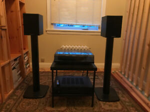 Selling Record Player, Amplifier & Speakers (with stands)