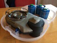 Campingaz Bistro 300 camping stove + 3 full & 1 part CV300 cartridges