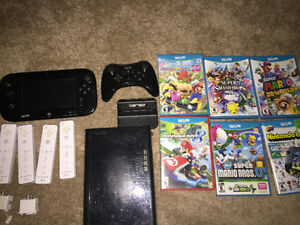Wii U with pro controller, 4 controllers & games
