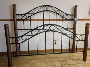 Maple and Black Metal Queen Headboard and Footboard