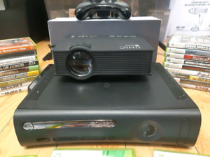 Xbox 360, 10 games, high def projector, screen & chair bundle!
