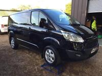 FORD TRANSIT CUSTOM 125psi limited e-tech 290 l1 h1 swb, air con, Black, Manual,