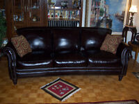 Classic Brown Leather Couch