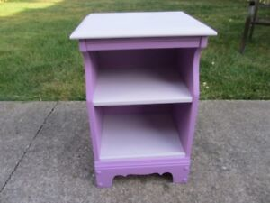 Solid Wood Purple Side Table / Night Table / End Table For Sale