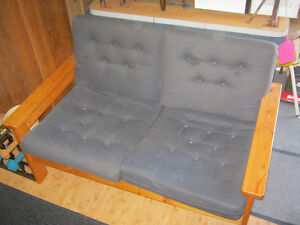 WOOD & CUSHION LOVESEAT-$75 -quality- very solid