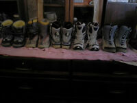 selection of snowboarding boots $10. each pair