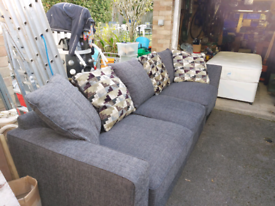 Charcoal Grey Chicago L Shaped Sofa, As new condition, 5 seater