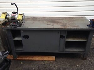 6 foot steel work bench with grinder and vise