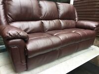 Excellent condition brown faux leather 3 seater sofa - can deliver