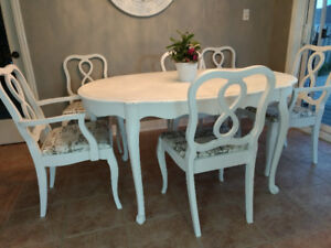 Antique re finished dining set and six chairs