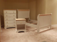 Sleigh bed set, with matching dresser, desk, bed side table