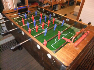 custom built euro style foosball table with glass playing surfac