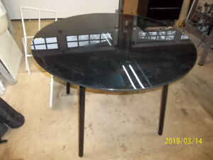 "42"" diameter heavy glass black metal table"