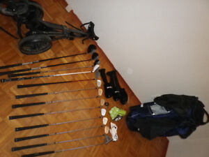 Complete LH golf set with cart and accessories