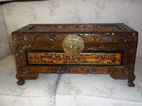 Vintage Ornate Carved Wood Storage Chest Ship Boat Motif