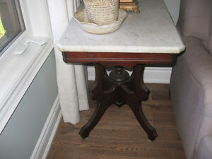 antique end table - marble top approximately 100 years old