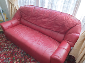Red 2 Seater leather Sofa
