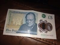 *** five pound polymere note AA20***